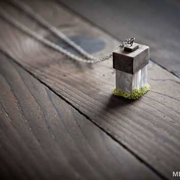 Natural Wood, Moss and Metal Necklace