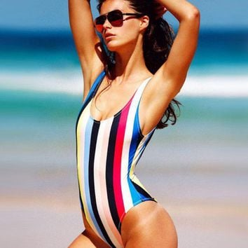 LMFONX5H Hot One Piece Rainbow Stripe Swimwear Bath Suit