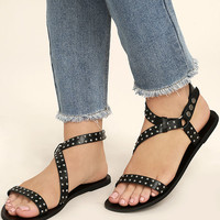 Amuse Society x Matisse Rock Muse Black Leather Studded Sandals