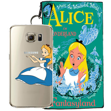Disney's Alice in Wonderland Jelly Clear Case For Samsung Galaxy S6 + Pouch