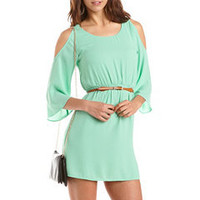 Belted Cold Shoulder A-Line Dress: Charlotte Russe