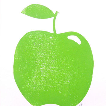 LINOCUT PRINT - green apple 8x10 linoleum block print