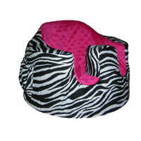 Bumbo Infant Seat Fitted Slip Cover in Zebra and Hot Pink Minky with pocket and toy tag