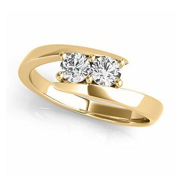 "I Love Us™  Two-Stone Ring 1/2 ct tw Diamonds 14K Yellow Gold  ""My Best friend is My true love™"""