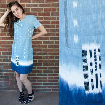 80s Vintage Ikat Ombre Blue & White Print Dress S by heirravintage