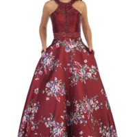 Halter Dress with Beaded Top and Floral Skirt- Burgundy/Print