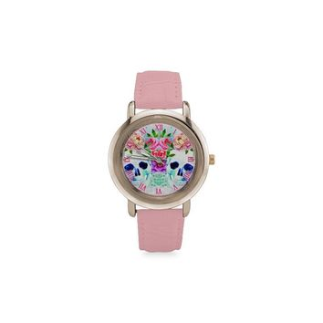sugar skull rose gold leather strap women watches 5 sty
