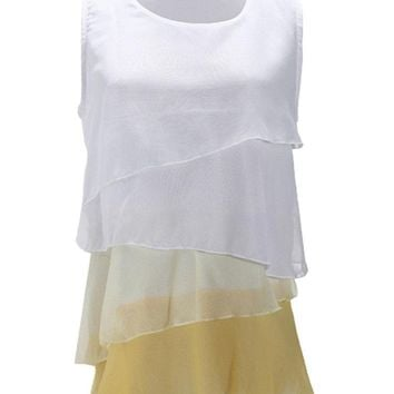 Women Sleevelss Contrast Color Multi-layered Chiffon Tank Tops