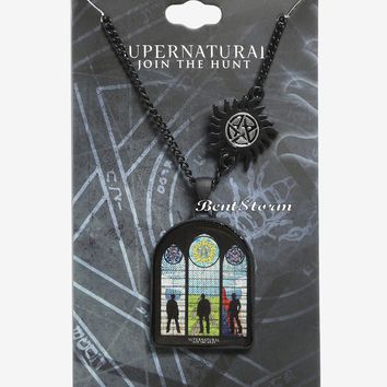 Licensed cool Supernatural Stained Glass Church Sam Dean Castiel Pendant Necklace Licensed NWT