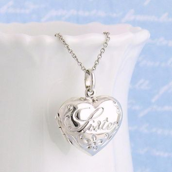 Puffed Heart Sister Locket in Sterling Silver