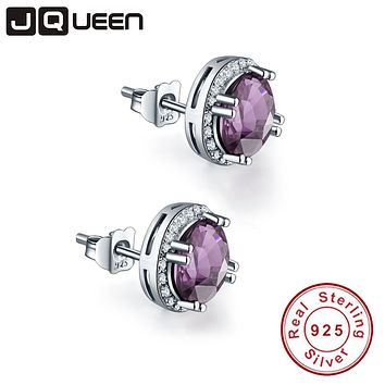 JQUEEN brand jewelry 925 sterling silver earrings 3.8Ct Amethyst Engagement Wedding Earrings brincos vintage earrings with box