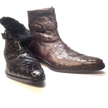 Mauri 4390 Nicotine Ostrich Quill & Mink Fur 3/4 Ankle Boots