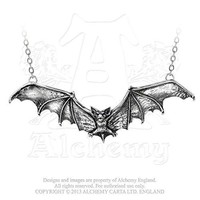 Night Bat in Full Flight Creature of Majesty Necklace By Alchemy Gothic