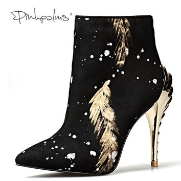 Pink Palms newest women winter boots high heels ankle boots for women snow boots fashion print pointed toe sexy classic boot