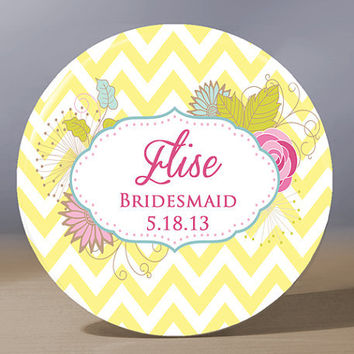 Personalized Pocket Mirror - Yellow Chevron Bridesmaid 3.5 inch Pocket Mirror with Gift Bag - Weddings - Bridesmaid Gift