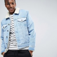 ASOS Fully Borg Lined Denim Jacket with Contrast Panels in Blue Wash at asos.com