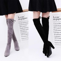 Women Faux Suede Thigh High Boots Over the Knee Boots high-heeled solid-color boots
