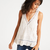 AEO Lace-Paneled Tank, Cream