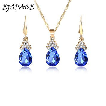 EJSPACE Wedding Jewelry Sets For Brides Teardrop Stud Earrings Necklace Set Rhinestones Aqua Royal Blue Purple Pink