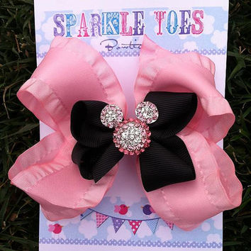 MINNIE MOUSE Bow - Princess Minnie - Princess bow - Minnie Mouse Birthday - Girls Hair Bows - Toddler, Infant, Big girls Bow