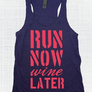 Navy/Coral Run Now Wine Later Eco Tank