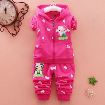 Cartoon Baby Girls Clothing Set Autumn Fleece Sports 2Pcs Sets Clothes Hello Kitty Long Sleeve Cotton Kids Clothing Boys Clothes