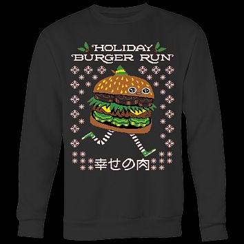 Holiday Burger run ugly Christmas sweater T-shirt