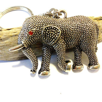 Elephant Charm Keychain, Silver Key Ring, Good Luck Elephant Key Chain, Cool Car Accessories, Elephant Gift, Gift Under 20, Made With Love
