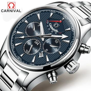 24 Jewels MIYOTA Automatic mechanical watch 50M water Top Brand Luxury CARNIVAL wristwatches mens Automatic mechanical watch