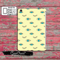Blue Eye Pattern Eye Lashes Wink Retro Pattern Illuminati Tumblr Inspired Custom iPad Mini, iPad 2/3/4 and iPad Air Case Cover