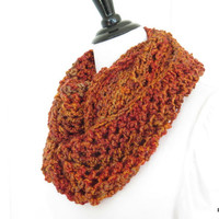 Orange crochet cowl, hand crochet homespun neck warmer infinity scarf, chunky crochet shoulder warmer, gift under 40
