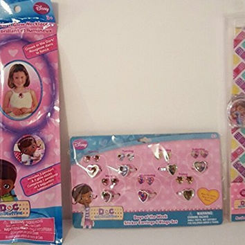 Doc McStuffins Analog Watch & 7 Day Ring with Matching Stick-on Earring Set & Glow in the Dark Pendant