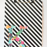 Custom Monogram Clipboard Personalized School Supplies Black and White Stripes Binder Flower Initial Clipboard Office Organization Folder