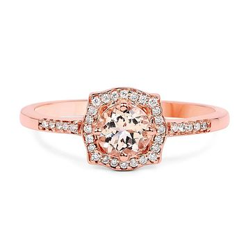 Special Edition, A 14K Rose Gold .51CT Round Cut Peach Morganite & Diamond Halo Ring