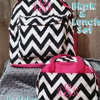 Black, Pink and White  Chevron Monogrammed Backpack and Lunch Box Set Free Personalization