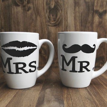 Set of 2 Mr. & Mrs. mustache and lips ceramic mugs, couple, wedding gift, newlywed, engagement, wedding shower, house warming, anniversary
