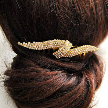 Pave Crystal Bow Bridal Hair Comb Wedding Headdress Glamour Grecian Headpiece Bohemian Jewelry Branch Beaded Hairpiece Bun