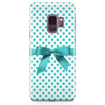Blue Tiffany Polkadot Ribbon Samsung Galaxy S9 Case | Casefantasy