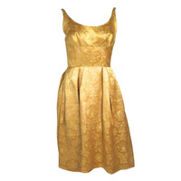 1960s Gold Brocade Low Scoop Back Shelf Bust Coctail Dress w Jacket