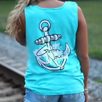 Loose Round Neck Anchor Print T-Shirt