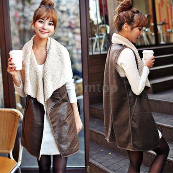 New Fashion Women Vest Coat Casual Faux Fur Lapel Sleeveless Fleece Long Waistcoat Elegant Jacket Outerwear Coffee One Size (Color: Coffee) = 1931446660