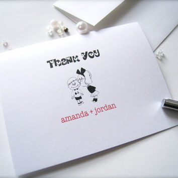 Personalized Thank You cards with envelopes, thank you notes, blank thank you cards - 10 count