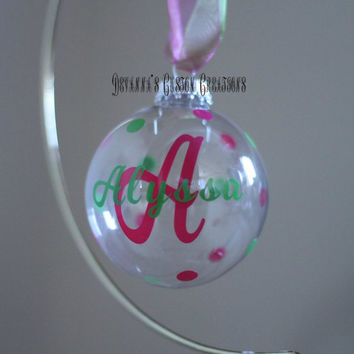 "Personalized 3"" Round Glass Ornament with Initial, Name, and Polka Dots"