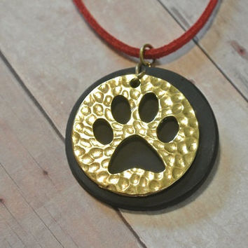 """Black and Gold Paw Print Necklace Polymer Clay and metal - Pendant Necklace - Red Sparkle Faux Suede Cord - 10"""" long - Bears cubs cats dogs"""