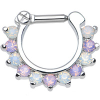 "14 Gauge 1/4"" Alluring Faux Opal and Light Purple Gem Septum Clicker 
