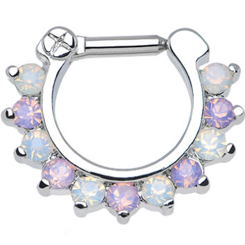 """14 Gauge 1/4"""" Alluring Faux Opal and Light Purple Gem Septum Clicker 