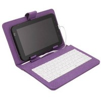 "Amazon.com: HDE® Hard Cover Case with Keyboard for 7"" Tablet - Purple: Computers & Accessories"