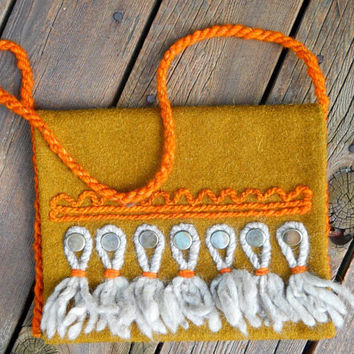 Pouch Bag Wool, Polish Handcrafted, Vintage, Gold Orange