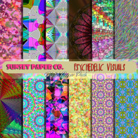 SALE Digital Paper Pack - Psychedelic Visuals Graphic Paper Art - 12 High Resolution Jpegs - Vivid Colors - Available in INSTANT DOWNLOAD