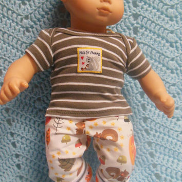 """American Girl Bitty Baby clothes Bitty Twins BOY """"Nuts For Mommy"""" (15 inch)  playset top pants socks squirrels"""